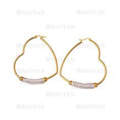 aretes de corazon con cristal de dorado en acero inoxidable-SSEGG054637