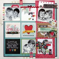 Love the longer red strip of paper - down the RHS August Guest Designer - Glenda Viljoen | Simple Stories