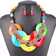 Fashion Jewelry Sets Shell Pendant Resin Beads Bright 8Colors Fashion Design Party Gift