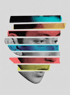 Gainsbourg / Collage of slices of photos / different colors overlayed Poster Design, Poster Layout, Photomontage, Plakat Design, Graphisches Design, Design Graphique, Art Plastique, Graphic Design Inspiration, Collage Art