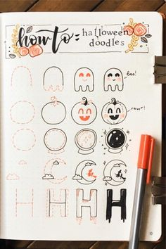 Best Bullet Journal Doodle Ideas For Halloween & Fall 2020 - Crazy Laura - - Starting your fall theme and need some deocration ideas? Check out these Fall and Halloween step by step bullet journal doodle tutorials for inspiration! Bullet Journal Kawaii, Bullet Journal October, Bullet Journal Notes, Bullet Journal Writing, Bullet Journal Spread, Bullet Journal Ideas Pages, Bullet Journal Layout, Bullet Journal Inspiration, Borders Bullet Journal
