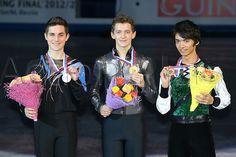 07.12.2012. Sochi, Russia.  (L to R) Joshua Farris (USA), Maxim Kovtun (RUS), Ryuju Hino (JPN), .. ISU Junior Grand Prix of Figure Skating Final 2012/2013 ..Mens Victory Ceremony at Iceberg Skating Palace, Sochi, Russia. ..
