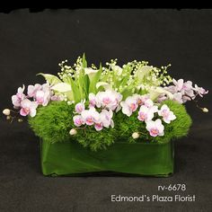 LILY OF THE VALLEY, Phaleanopsis orchids, mini calla lilies, dianthus greens...BEAUTIFUL  rv-6678 : Edmond;s Plaza Florist : San Mateo, California, Same Day Flower Delivery for any occasion