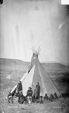 Group of Ten(Shoshoni), All in Partial Native Dress; Tipi Nearby 10 OCT 1878 by William Henry Jackson (1843-1942)