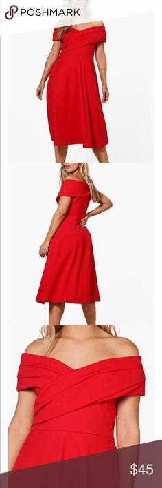 Boohoo Plus Erica Off Shoulder Red Skater Dress New with tags!  Beautiful bold red off shoulder US size 18 Boohoo Plus Dresses Midi