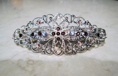 18.00$  Watch now - http://viuth.justgood.pw/vig/item.php?t=1o53is56242 - Silver filigree hair clip barrette with purple swarovski crystals bridal hair cl 18.00$
