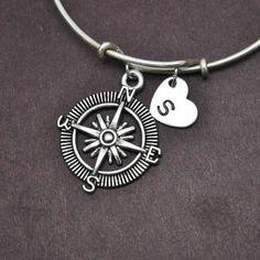 Compass Bangle, Sterling Silver Bangle, Compass Bracelet, Expandable Bangle, Personalized Bracelet, Charm Bangle, Initial Bracelet, Monogram by BangleLand on Etsy