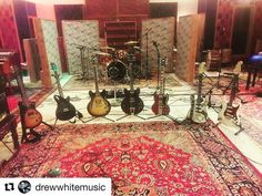 #Repost @drewwhitemusic  The guitar collection we used for sampling on our upcoming album... which ones do you favor?  #guitar #paulreedsmith #gibson #fender #es325 #es335 #stratocaster #gibsonsg #sonicranch #music #rock #carpet #like4like #followforfollow #elixirguitarstrings #production #recordingstudio #recording