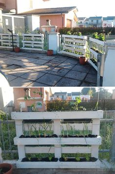 Pallet Designs pallets garden fence planters - We assure you that you cannot find the more cheapest source of wood than the pallet wood. Its cheap, durable and abundantly available from … Wood Pallet Recycling, Pallet Crafts, Diy Pallet Projects, Outdoor Projects, Pallet Ideas, Fence Ideas, Recycling Ideas, Eco Deco, Palette Diy