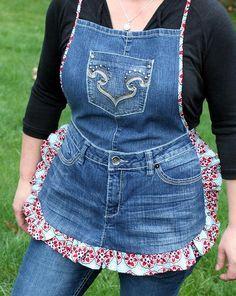 avental feito com calça jeans velha