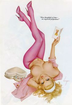 "lovethepinups:  Alberto Vargas - ""How thoughtful of him - an engraved proposition!"""