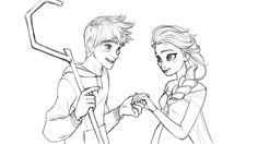 Illustration Jack Frost and Elsa