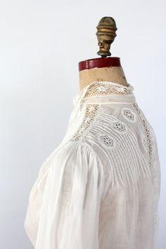 Mother - Victorian Blouse / Antique White Top / Small. $300.00, via Etsy.