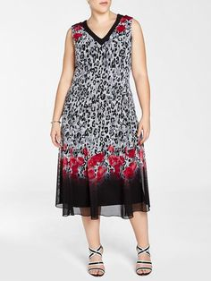 Laura Plus: for women size 14 . Picadilly V-neck Sleeveless Printed mesh body Fitted through waist with flared skirt Pull-on style Slight stretch Made in Canada 5010101-8723