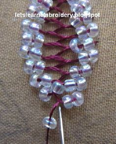Let's learn embroidery: Beaded cretan stitch flower