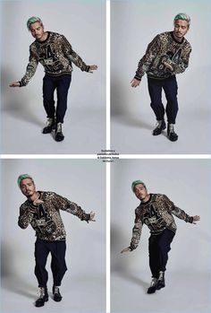 Starring in an Esquire México photo shoot, J. Balvin wears a sweater and pants by Dolce & Gabbana with Gucci boots.