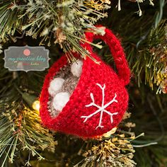 I designed this versatile ornament that can be made to have a variety of different looks. Create a snowman cup or Christmas cup with a snowflake. Create a number of looks just by changing the yarn color or adding different embellishments.