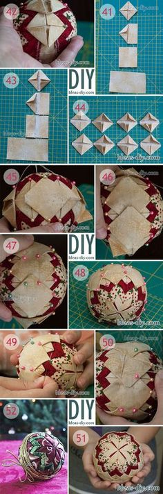 40 Ideas Sewing Christmas Decorations Fabric Ornaments For 2019 Diy Quilted Christmas Ornaments, Folded Fabric Ornaments, Christmas Sewing, Diy Christmas Ornaments, Christmas Projects, Handmade Christmas, Christmas Tree Decorations, Holiday Crafts, Ball Ornaments