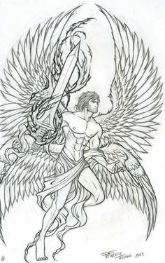 Outline Archangel Tattoo Design