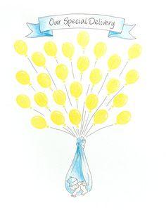 BABY SHOWER Guest Book globos 11 x 14 personalizado pintura Original para los huéspedes de 15 a 30