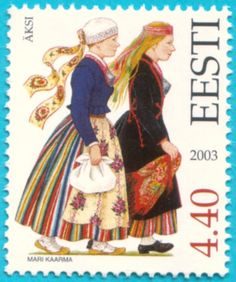 Estonian stamps: Folk Costumes of Tartu County. Äksi (Explore short-term work adventures with Estonian #startups at https://jobbatical.com/explore/Estonia)
