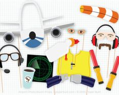 Airplane Party Photo Booth Props Airplane por PaperBuiltShop