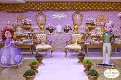 Resultado de imagem para festa da princesa sofia Princess Sofia Party, Disney Princess Party, Baby Shower Princess, Baby Birthday, Birthday Parties, Party Warehouse, Princesa Sophia, Princess Party Decorations, Cute Kids Fashion