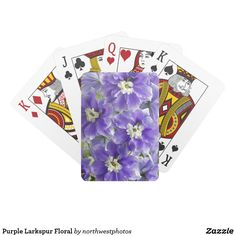 Purple Larkspur Floral Playing Cards