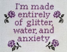 I'm Made Entirely Of Glitter Water & Anxiety Cross Stitch Pattern, Easy Modern Embroidery, Instant D Crewel Embroidery, Modern Embroidery, Cross Stitch Embroidery, Embroidery Patterns, Simple Embroidery, Red Glitter, Glitter Face, Glitter Party, Sparkles Glitter