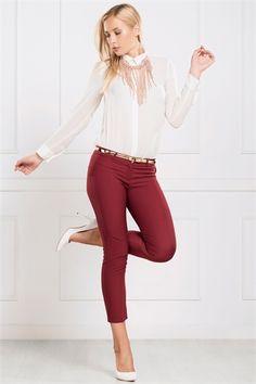 İRONİ DAR PAÇA BORDO PANTOLON Capri Pants, Fashion, Moda, Capri Trousers, Fashion Styles, Fashion Illustrations
