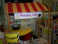 Potions Lab role-play area classroom display photo - Photo g Mixed Up Chameleon, Room On The Broom, Play Corner, Reception Class, Role Play Areas, Dramatic Play Area, Foundation Stage, Eyfs Activities, Halloween Displays