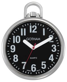 Gotham Men's Silver-Tone Slim Low Vision Open Face Quartz Pocket Watch #Gotham