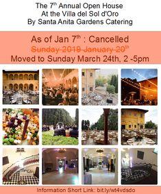 The Villa del Sol d'Oro by Santa Anita Gardens Catering (SAG) Open House, Catering, Photo Wall, Villa, Santa, Mansions, House Styles, Calendar, Gardens