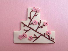 Cherry Blossom Wedding Favor  Cake Shaped Magnet by LuckyTrinket, $2.50