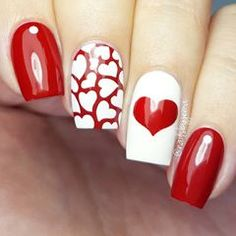 Getting Smart With Red Nail Art Designs Nailart Valentines Day 77 Heart Nail Designs, Valentine's Day Nail Designs, Nails Design, Heart Nail Art, Heart Nails, Red Nail Art, Red Nails, Glitter Nails, Ongles Roses Clairs