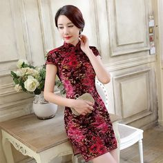 Short-length Velvet Fabric Cheongsam Qipao Chinese dress TD0061 - iChinesedress.com