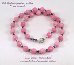 Pink  Rhodonite  gemstone  necklace  and by TanyaWatsonDesigns
