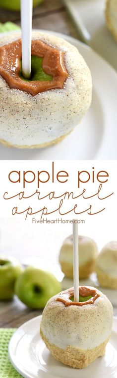 Apple Pie Caramel Apples ~ tart green apples coated in chewy caramel, dipped in white chocolate, and then sprinkled with cinnamon sugar are an uncanny copycat of Disney's famous treat...and they truly taste like apple pie! | FiveHeartHome.com