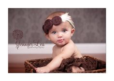 Baby Headband Baby Flower Headband Brown Raw by LittleLovesDesigns, $16.95