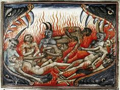 The pool of Fire and Brimstone, from The Book of Our Lord's Vineyard 1470