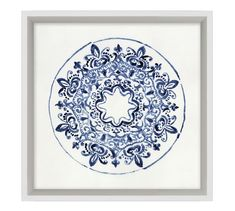 Intricate patterns in blue and white evoke porcelain plates in this watercolor artwork. Giclee reproduction on paper is designed in a Pine frame with a matte white edge. D-ring mounting. Sold as a set of four or sold individually. Watercolor Artwork, Watercolor Flowers, Blue Tapestry, Nautical Pattern, Blue Wall Decor, Pottery Barn Inspired, Custom Rugs, White Porcelain, Porcelain Vase