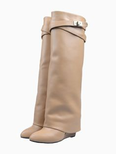 Leather Wedge Knee Boots - Choies.com