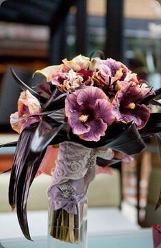 Hibiscus Bouquet for purple wedding... Very sensual.
