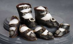"""What Finespun Threads"" - Antique Doll Costumes, 1840-1925 - March 12, 2017: 191 Three Pairs of Black Kidskin Shoes with Silver Buckles"