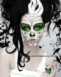 Looking for designs I can handle myself in the Halloween rush to get ready. Sugar Skull Makeup, Sugar Skull Art, Sugar Skulls, Maquillaje Sugar Skull, Art Halloween, Dead Makeup, Day Of The Dead Art, Candy Skulls, Tatoo