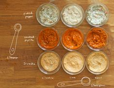 Inspiration for Dipping sauces/sandwich spreads :).  Bet I can make up my own concoctions!