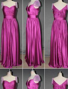 Elegant Purple Sweetheart Cap Sleeves With Beading Long Prom Dresses