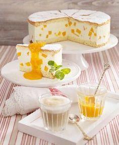 Käse-Sahne-Torte :) Yummy!!! (used canned peaches instead; 60g + 120g sugar)