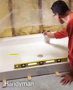 Shower Pan Installation, One Piece Shower, Mobile Home Bathrooms, Tub To Shower Remodel, Bath Remodel, Shower Base, Diy Shower, Shower Ideas, Shower Fittings