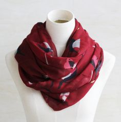 Marron red vivid birds scarf soft cotton by blackbeanblackbean, $9.99